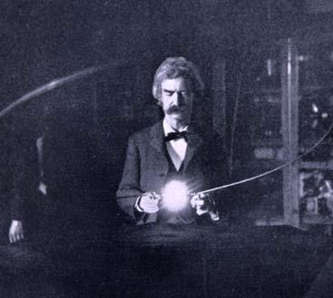 Марк Твен в лаборатории Теслы